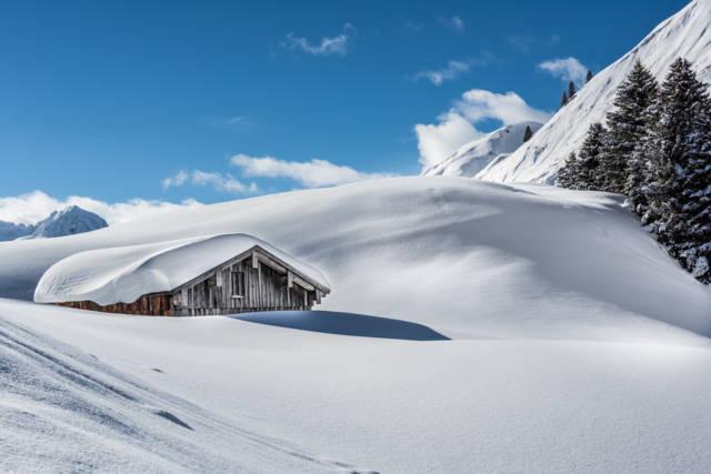 Tiefschnee in Vorarlberg, Warth Schröcken